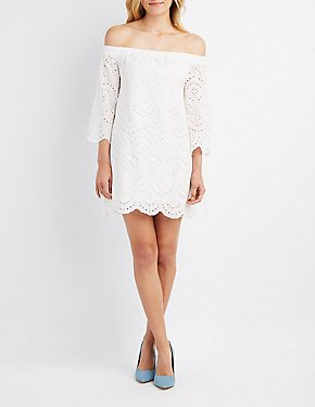 Eyelet Off-The-Shoulder Shift Dress