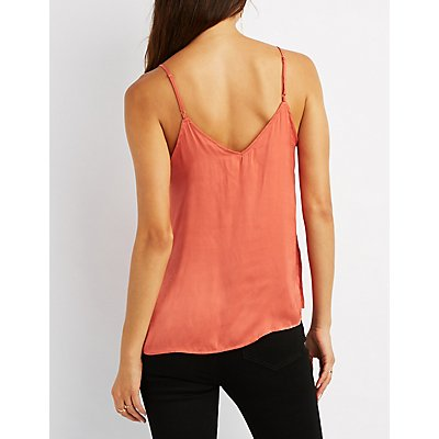 Silk Strappy Caged-Front Top