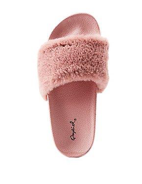 Qupid Faux Fur Slide Sandals