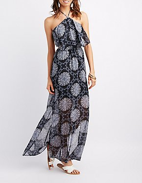 Paisley Open-Back Halter Maxi Dress