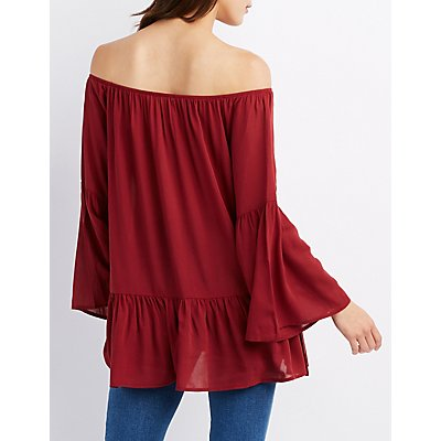 Ruffle-Trim Off-The-Shoulder Bell Sleeve Top