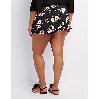 Plus Size Floral High-Waist Shorts