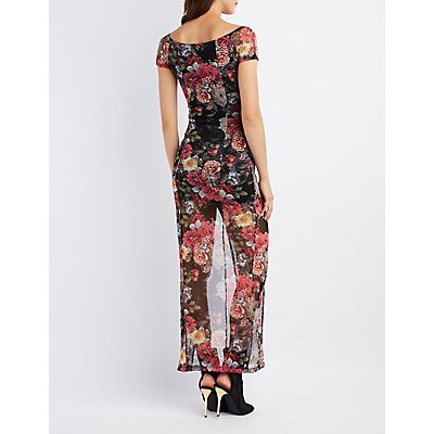 Floral Mesh Off-The-Shoulder Maxi Dress