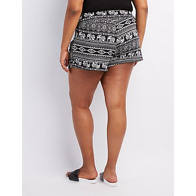 Plus Size Printed High-Waist Shorts