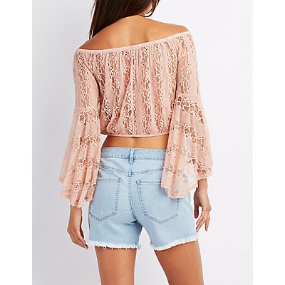 Lace Off-The-Shoulder Crop Top