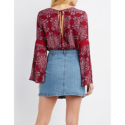 Floral Surplice Bell Sleeve Top