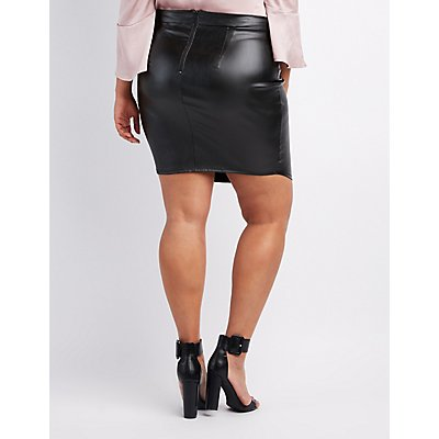 Plus Size Liquid Lace-Up Skirt
