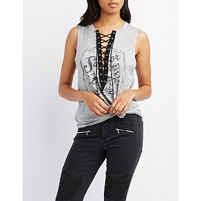 Graphic Lace-Up Tank Top