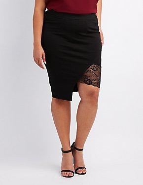 Plus Size Lace-Trim Pencil Skirt