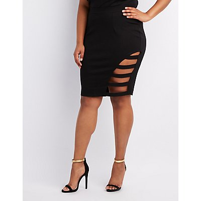 Plus Size Caged Pencil Skirt