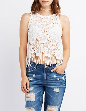 Floral Crochet Fringed Top