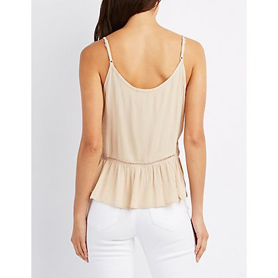 Lace-Up Peplum Tank Top