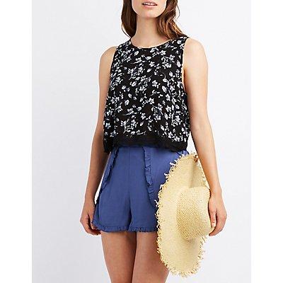 Floral Crochet-Trim Flyaway Top