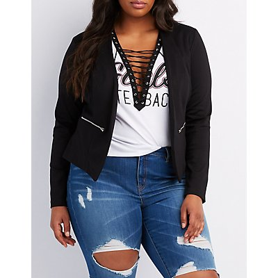 Plus Size Zipper-Trim Collarless Blazer