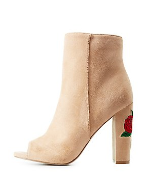 Rose Embroidered Peep Toe Ankle Booties