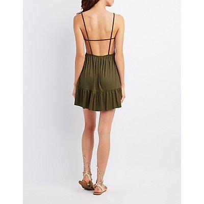 Tiered Open Back Swing Dress