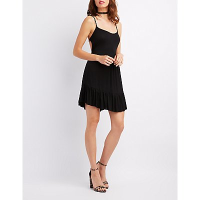Tiered Open Back Swing Dress