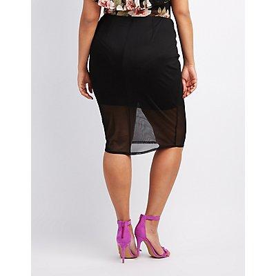 Plus Size Mesh Pencil Skirt