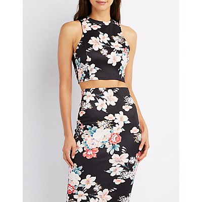 Floral Open-Back Crop Top