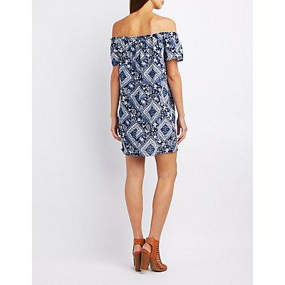 Floral Print Off-The-Shoulder Shift Dress