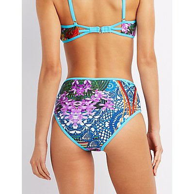 Printed High-Waisted Bikini Bottoms
