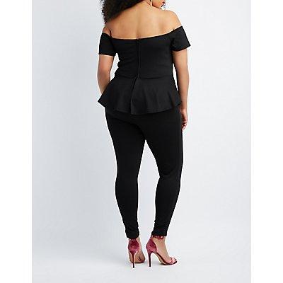 Plus Size Off-The-Shoulder Peplum Jumpsuit
