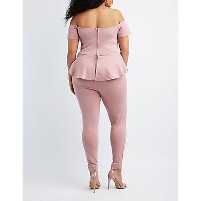 Plus Size Off-The-Shoulder Peplum Jumpsuit
