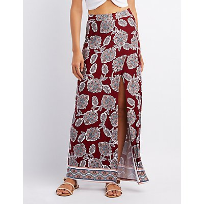 Floral Wrap Slit Maxi Skirt