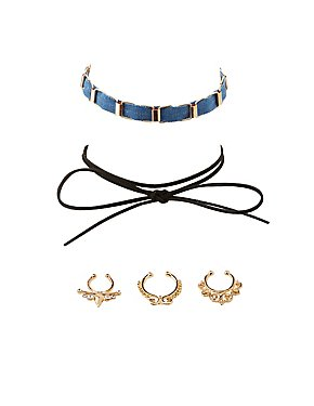 Embellished Septum Rings & Choker Necklaces -5 Pack