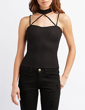Strappy Mock Neck Top
