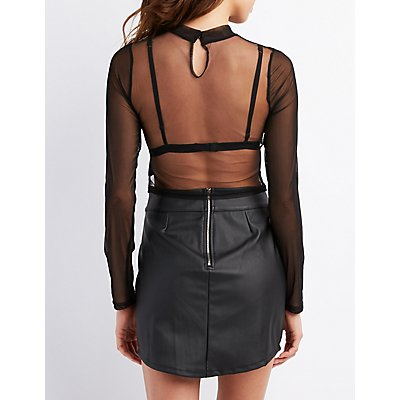 Embroidered Mesh Mock Neck Top