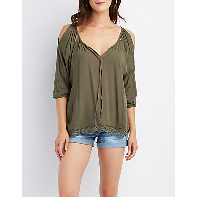 Split Sleeve Tie-Front Blouse