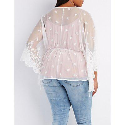 Plus Size Embrodered Mesh Kimono