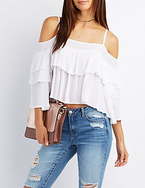 Tiered Ruffle Cold Shoulder Top