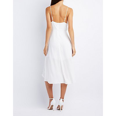 Ruffle-Trim Midi Dress