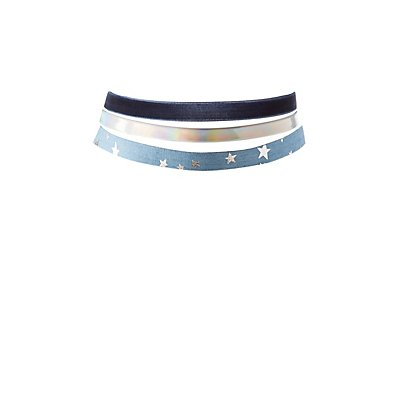 Denim, Velvet & Holographic Choker Necklaces - 3 Pack