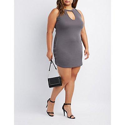 Plus Size Mock Neck Lace-Up Dress