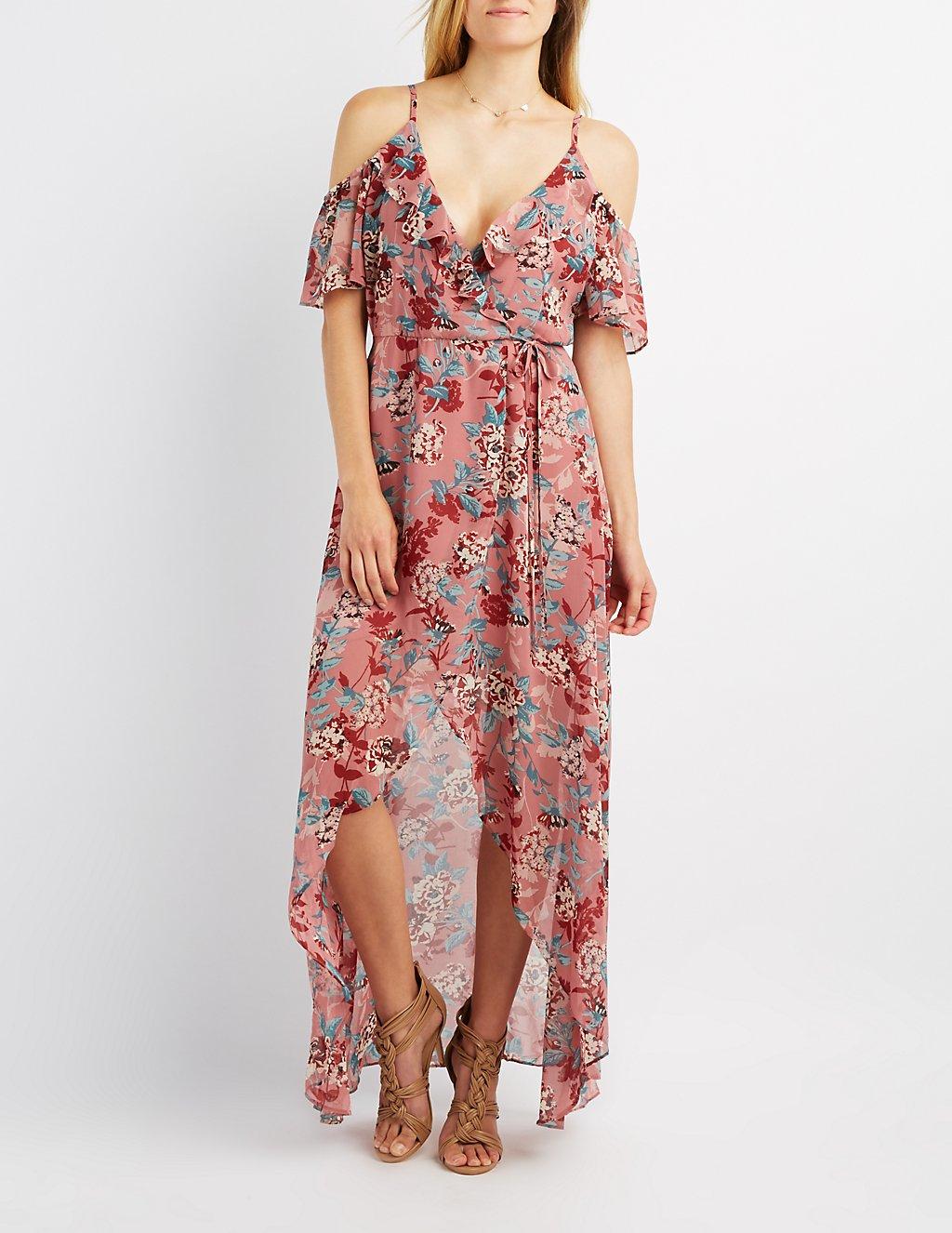 Floral Cold Shoulder Maxi Wrap Dress | Charlotte Russe