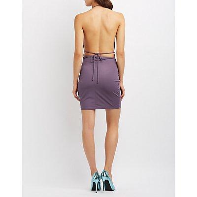Cowl Neck Open Back Bodycon Dress