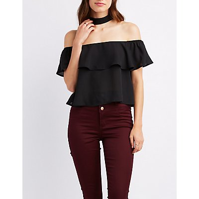 Floating Choker Neck Off-The-Shoulder Top