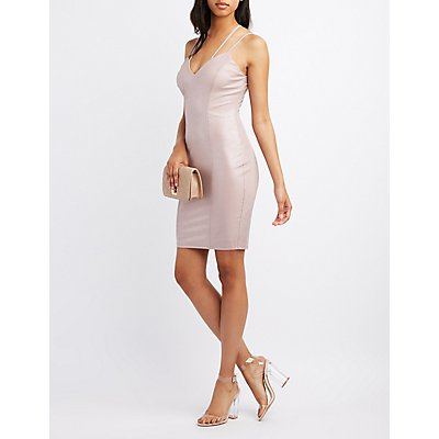 Ribbed Strappy Crisscross Bodycon Dress