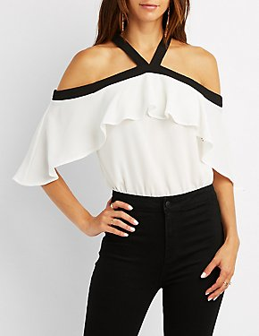 Halter Neck Cold Shoulder Bodysuit