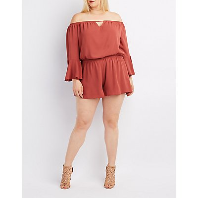 Plus Size Off-The-Shoulder Keyhole Romper