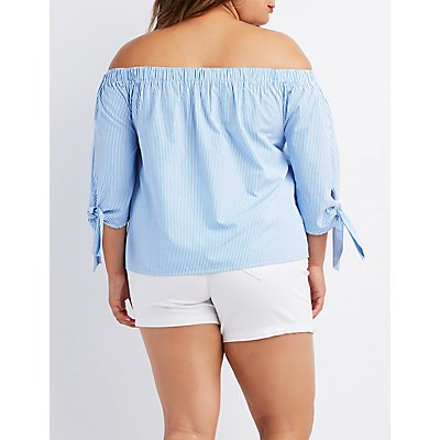 Plus Size Striped Off-The-Shoulder Tie Sleeve Top