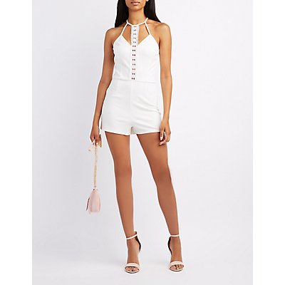 Crochet-Trim Bib Neck Romper