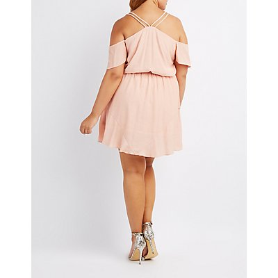 Plus Size Strappy Cold Shoulder Skater Dress