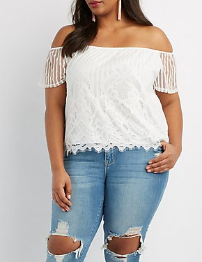 Plus Size Eyelash Lace Off-The-Shoulder Top