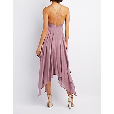 Satin Handkerchief Hem Maxi Dress