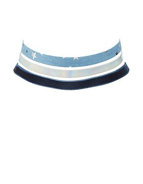 Plus Size Denim, Velvet & Holographic Choker Necklaces - 3 Pack