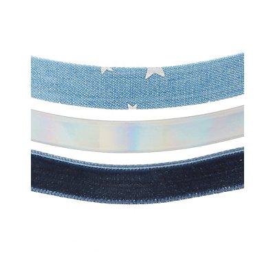 Plus Size Denim, Velvet & Holographic Choker Necklaces - 3 Pack